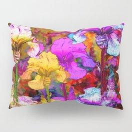 Yellow & Violet Purple Fantasy Iris  Painting Pillow Sham