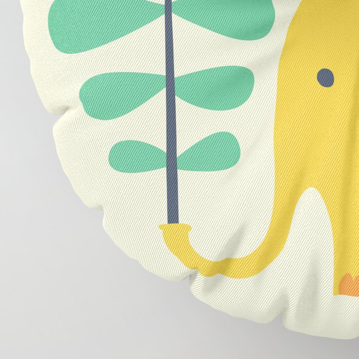 Elephant with giant flower Floor Pillow