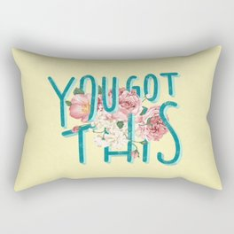 You Got This motivational lettering artwork with floral details, perfect gift for her! Rectangular Pillow