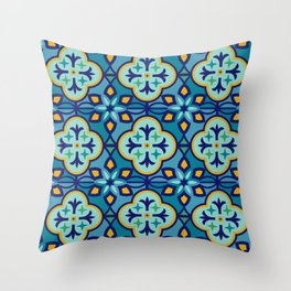 Moroccan Tiles in Blue Hues Throw Pillow