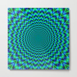 Pulse in Blue and Green Metal Print