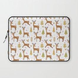Pastel green brown cute Christmas deer festive pattern Laptop Sleeve