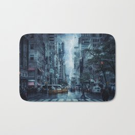 Cityscape Downtown Scene with Lightning and Rain Bath Mat