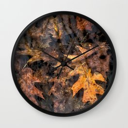Leaves in a Rock Pool Square Wall Clock