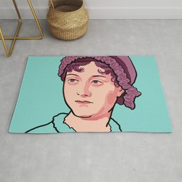 Jane Austen Portrait Blue Purple Rug