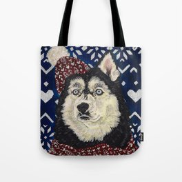 Husky in a Hat and Scarf Tote Bag
