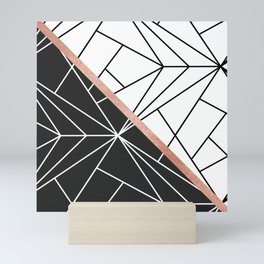 Modern geometrical abstract rose gold black white stripes Mini Art Print