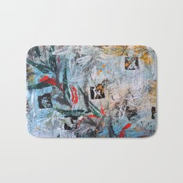 AUTUMN SHUFFLE - GUM TREE LEAVES - Original abstract painting by HSIN LIN / HSIN LIN ART Bath Mat