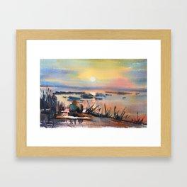 Honey Coloured Sunrise Framed Art Print