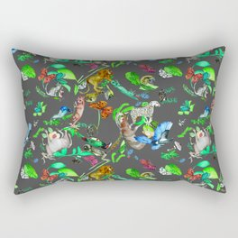 animals and plants with gray background Rectangular Pillow