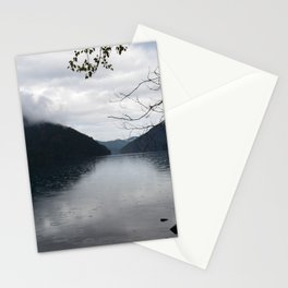 Cloud Covered Lake Crescent Stationery Cards