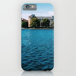 Painting of Danish Buildings along the Copenhagen Lakes, on a Clear and Sunny Summer's Day iPhone Case