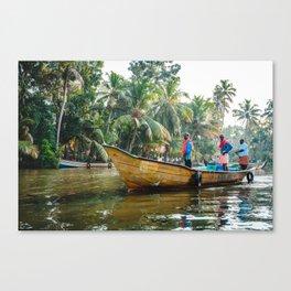Men on the Kerala Backwaters Canvas Print