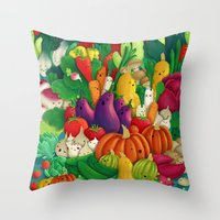 danny ivan Throw Pillows featuring Nice People Eat Vegetables - background (Made with Danny Ivan) by Lidija Paradinović Nagulov - Celandine