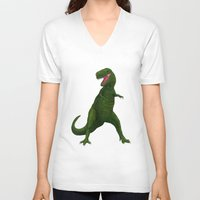 t rex V-neck T-shirts featuring T Rex by Lydia Meiying
