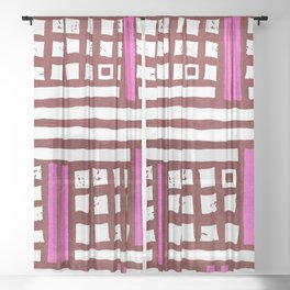 Abstract modern geometrical pink burgundy pattern Sheer Curtain