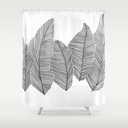 drawn feathers Shower Curtain