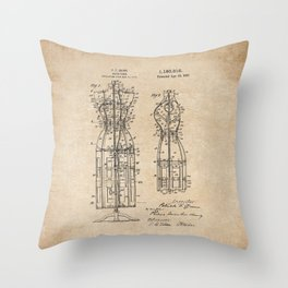 Vintage Dress Form Patent Drawing - Industrial Decor - Sewing - Vintage Design Throw Pillow