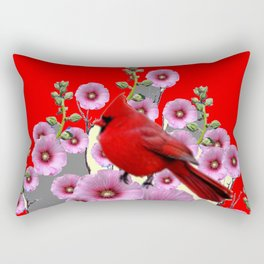 MODERN  RED ART PINK HOLLYHOCKS & RED CARDINAL BIRD Rectangular Pillow