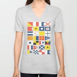 Geometric Nautical flag and pennant Unisex V-Neck