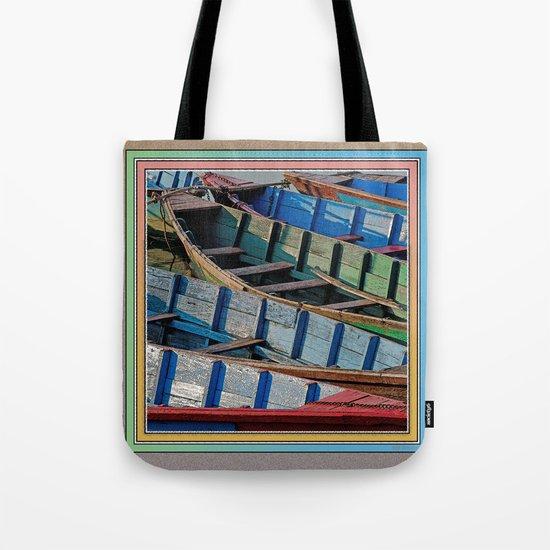 COLORFUL CANOES ALONG PHEWA LAKE SHORELINE POKHARA NEPAL Tote Bag