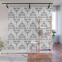 Abstract geometric pattern with floral elements Wall Mural