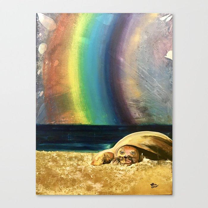 Sleepy Seal on the Beach Canvas Print