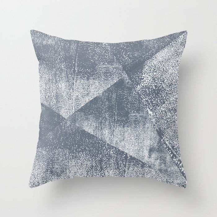 Dark Blue Gray and White Geometric Ink Texture Throw Pillow