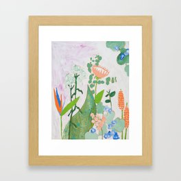 Multi Floral Painting on Pink and White Background Framed Art Print