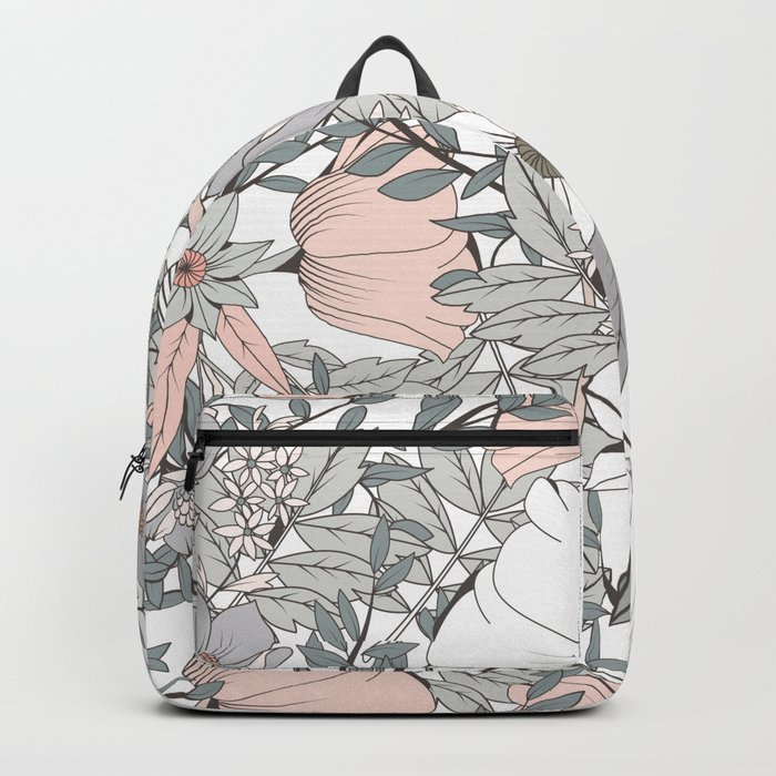 Seamless pattern design with hand drawn flowers and floral elements Backpack