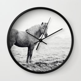 Horse in Icelandic Landscape Photograph Wall Clock