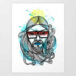 A Man with Shades and Beard Art Print