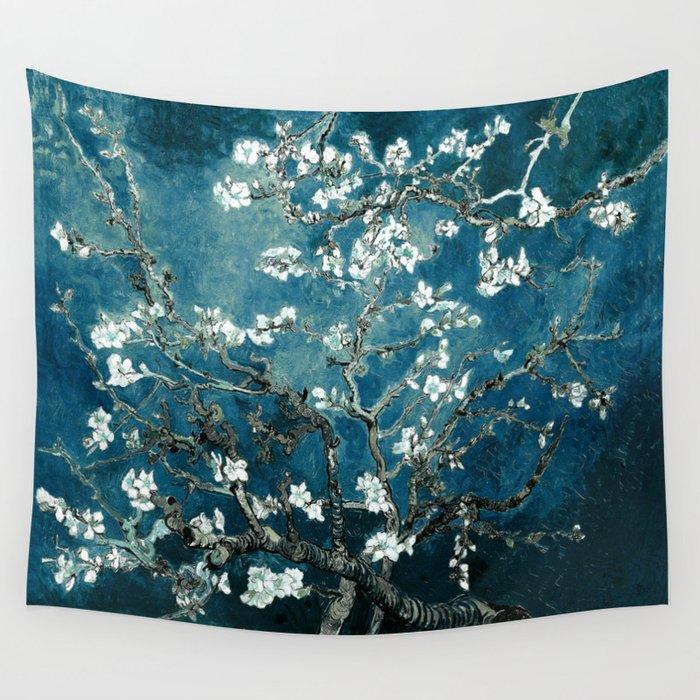 Van Gogh Almond Blossoms : Dark Teal Wandbehang