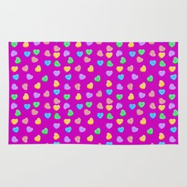 Happy Valentine's Day Candy Hearts pattern Rug
