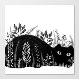 Garden Cat Black And White Canvas Print