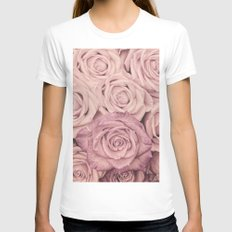 Some people grumble - Pink rose pattern- roses X-LARGE Womens Fitted Tee White