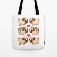 asexual Tote Bags featuring Puglie Pride by Puglie Pug