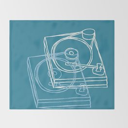 Blue Record Player Throw Blanket