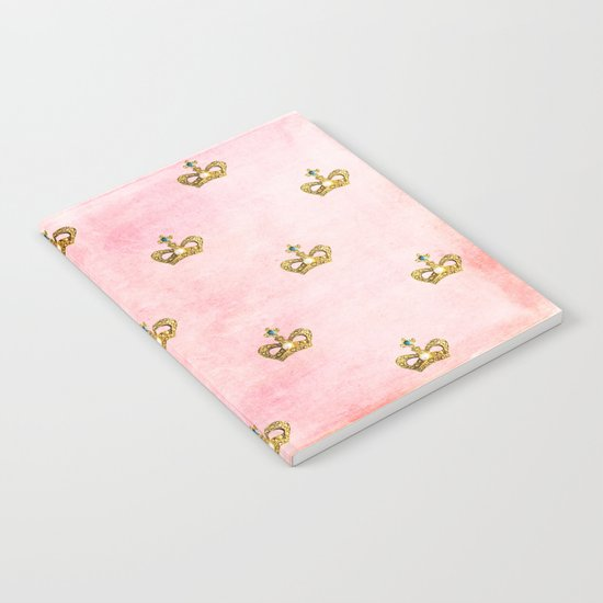 Gold crowns on pink watercolor backround- pattern Notebook