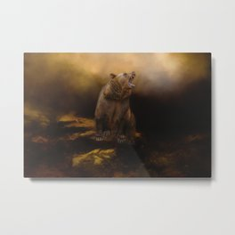 Roaring grizzly bear Metal Print