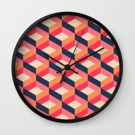 Retro Geo - Navy & Pink Wall Clock