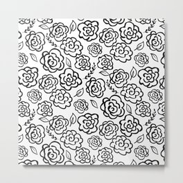 Floral Outlines - Black/White Metal Print