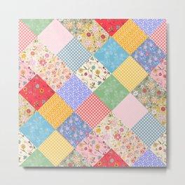 Happy Cottage Diamond Patchwork Quilt Metal Print