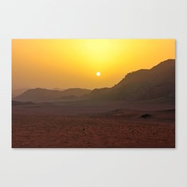 Sunset in Wadi Rum desert in Jordan Canvas Print