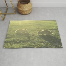 Bunny // Cute Nursery Photograph Adorable Baby Bunnies in the Field Rug