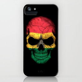Dark Skull with Flag of Ghana iPhone Case
