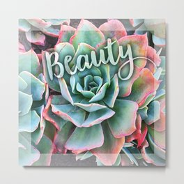 """Beauty"" mint green & pink tipped cactus close-up photo Metal Print"