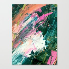 Meditate [5]: a vibrant, colorful abstract piece in bright green, teal, pink, orange, and white Canvas Print