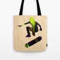 skateboard Tote Bags featuring Skateboard by marvinblaine