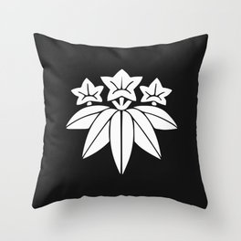 Minamoto Clan · White Mon Throw Pillow